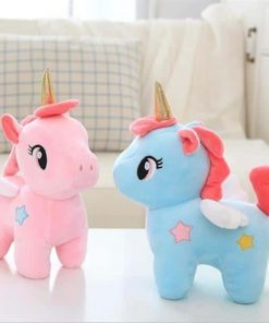 Unicorn Stuffed Animal In Pink And Blue