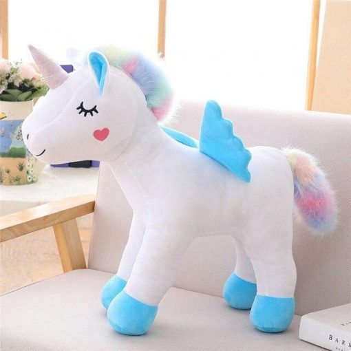 Standing Unicorn Stuffed Animal With Blue Wing