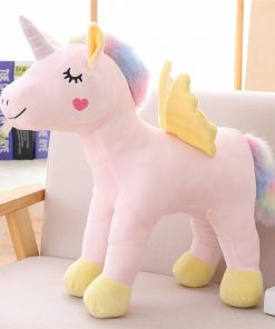 Standing Unicorn Stuffed Animal With Yellow Wing