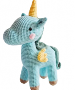 Blue Knitted Unicorn Stuffed Animal Toy