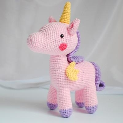Pink Knitted Unicorn Stuffed Animal