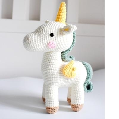 White Knitted Unicorn Stuffed Animal