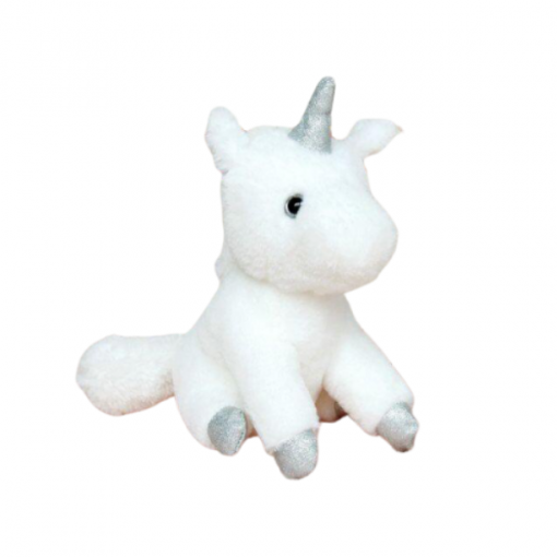 Stuffed Animal Unicorn White Silver