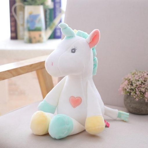 White Blue Yellow Unicorn Stuffed Animal